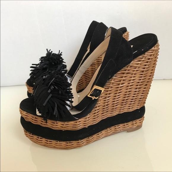 807f0a47d6fc Paloma Barceló Black Wedge Sandals SZ 8